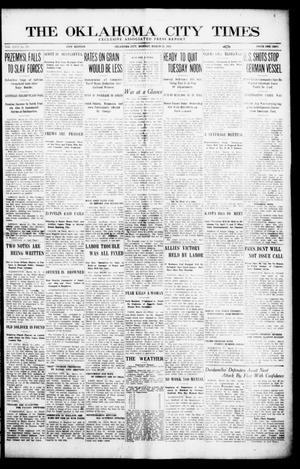 Primary view of object titled 'The Oklahoma City Times (Oklahoma City, Okla.), Vol. 26, No. 292, Ed. 1 Monday, March 22, 1915'.