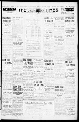 Primary view of object titled 'The Oklahoma Times (Oklahoma City, Okla.), Vol. 27, No. 130, Ed. 1 Tuesday, September 14, 1915'.