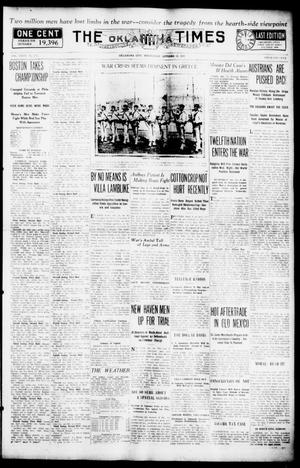 Primary view of object titled 'The Oklahoma Times (Oklahoma City, Okla.), Vol. 27, No. 155, Ed. 1 Wednesday, October 13, 1915'.