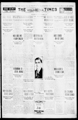 Primary view of object titled 'The Oklahoma Times (Oklahoma City, Okla.), Vol. 27, No. 181, Ed. 1 Friday, November 12, 1915'.