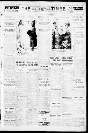 Primary view of object titled 'The Oklahoma Times (Oklahoma City, Okla.), Vol. 27, No. 185, Ed. 1 Wednesday, November 17, 1915'.