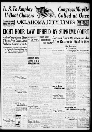 Primary view of object titled 'Oklahoma City Times (Oklahoma City, Okla.), Vol. 28, No. 301, Ed. 1 Monday, March 19, 1917'.