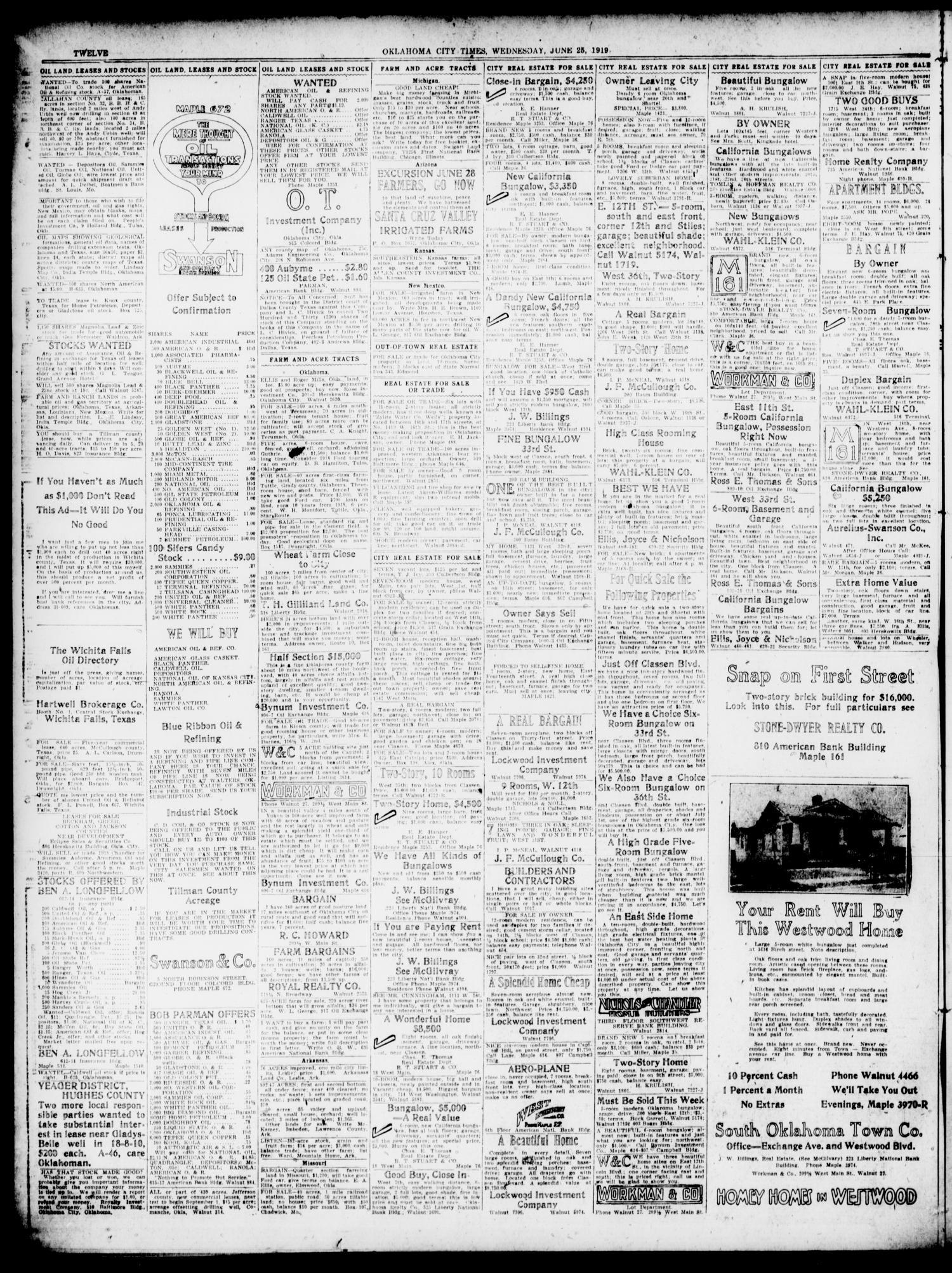 Oklahoma City Times Oklahoma City Okla Vol 31 No 66 Ed 1 Wednesday June 25 1919 Page 12 of 14 The Gateway to Oklahoma History