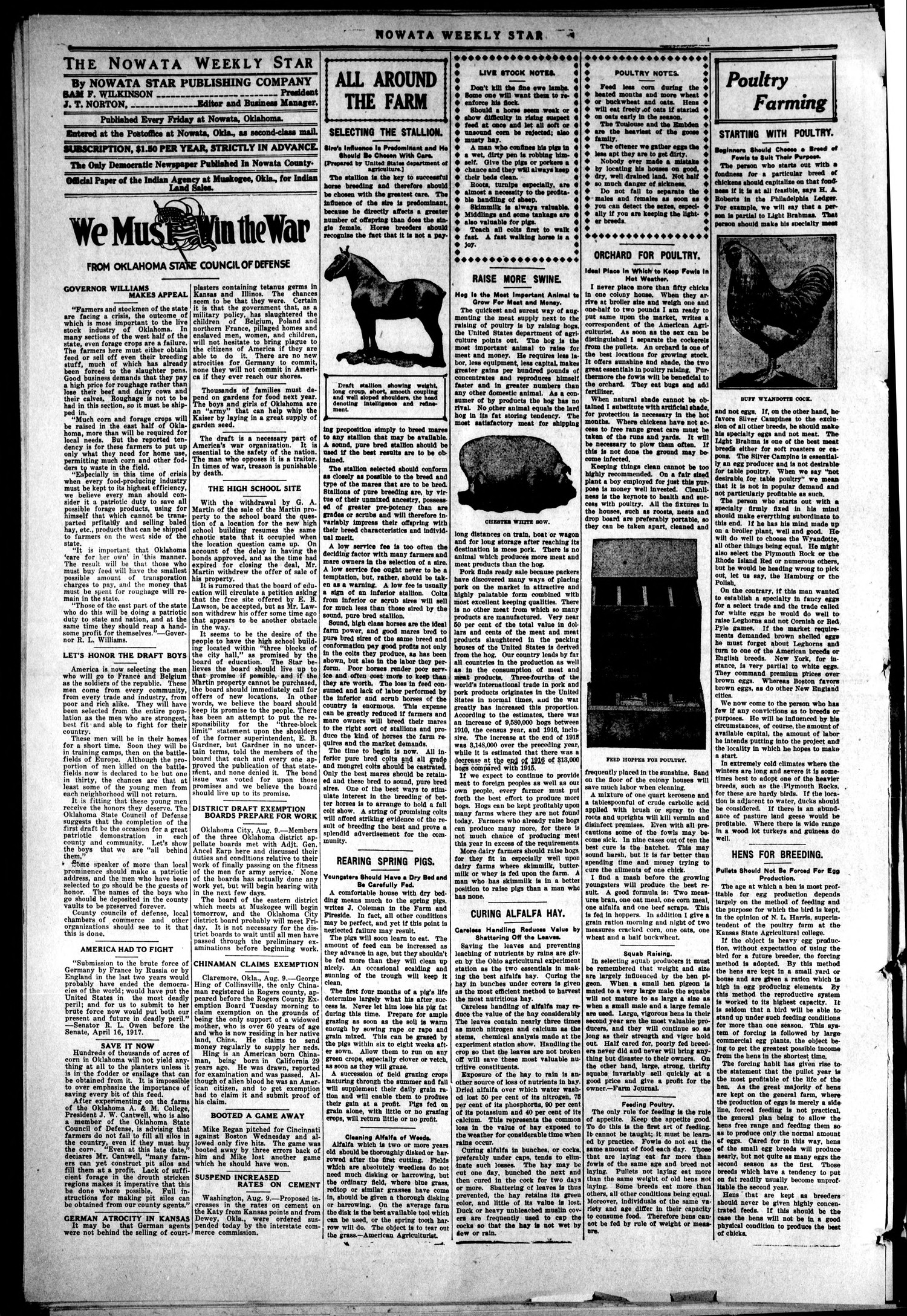 The Nowata Star (Nowata, Okla.), Vol. 13, No. 28, Ed. 1 Thursday, August 9, 1917                                                                                                      [Sequence #]: 4 of 8