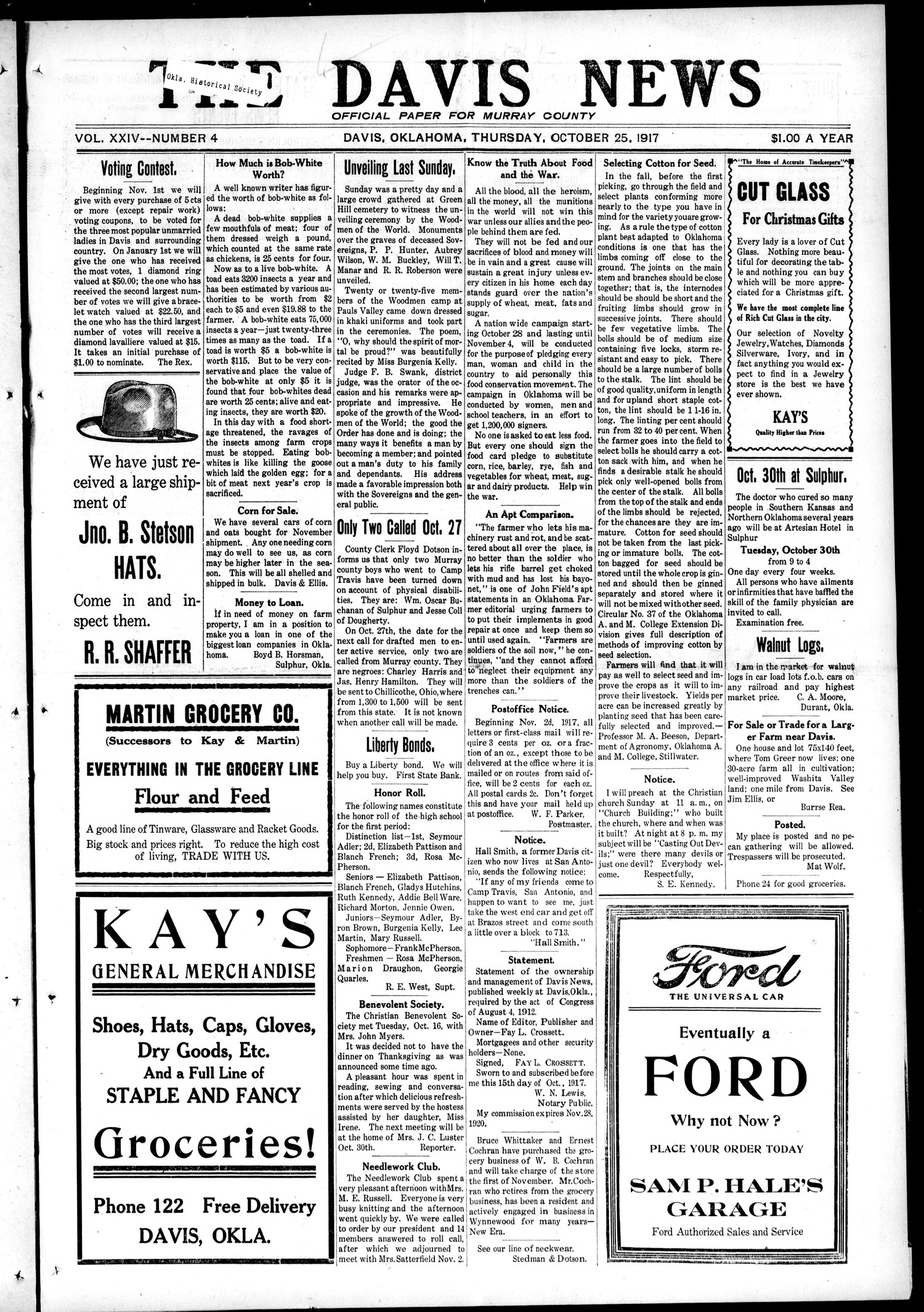 The Davis News (Davis, Okla.), Vol. 24, No. 4, Ed. 1 Thursday, October 25, 1917                                                                                                      [Sequence #]: 1 of 10