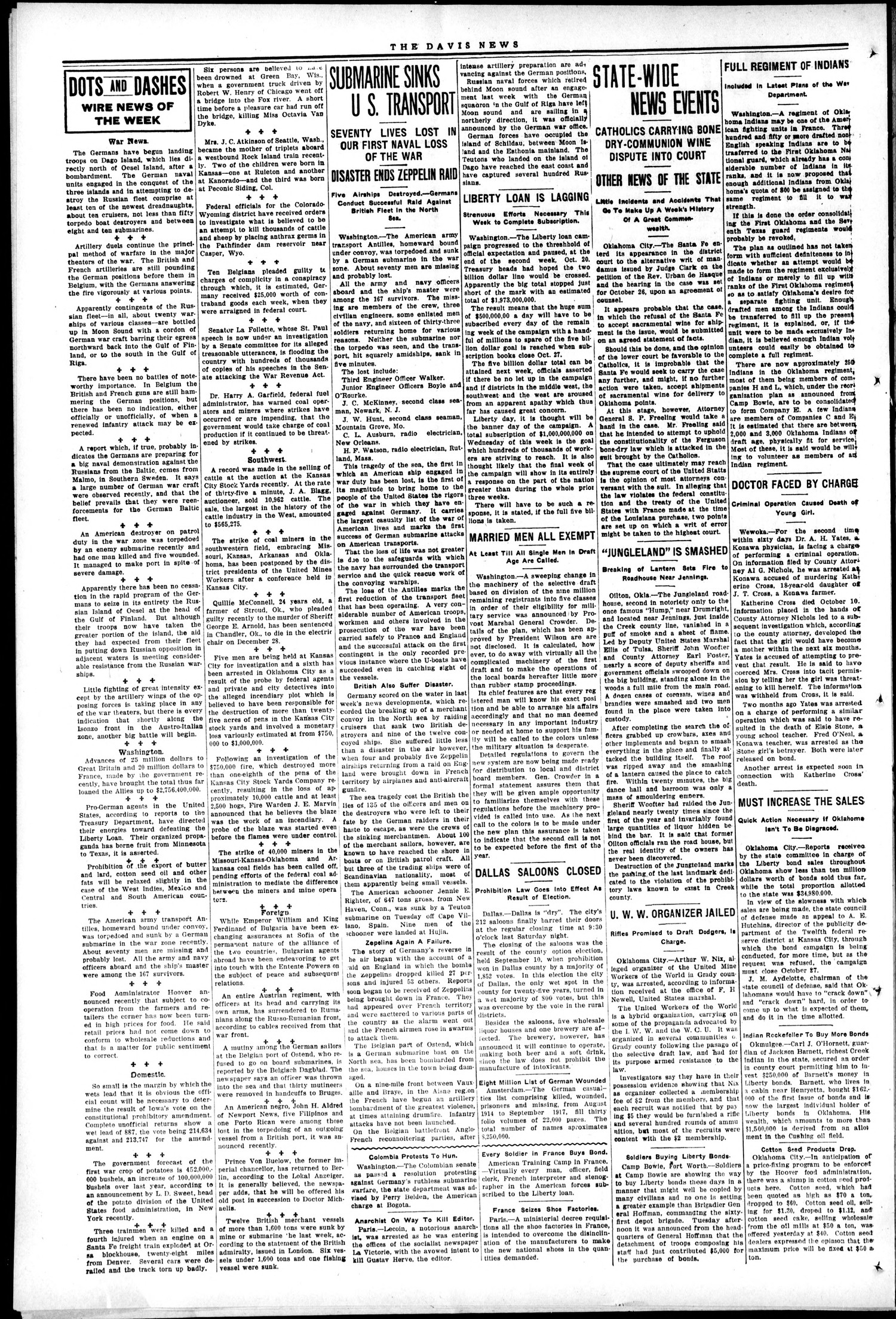 The Davis News (Davis, Okla.), Vol. 24, No. 4, Ed. 1 Thursday, October 25, 1917                                                                                                      [Sequence #]: 2 of 10
