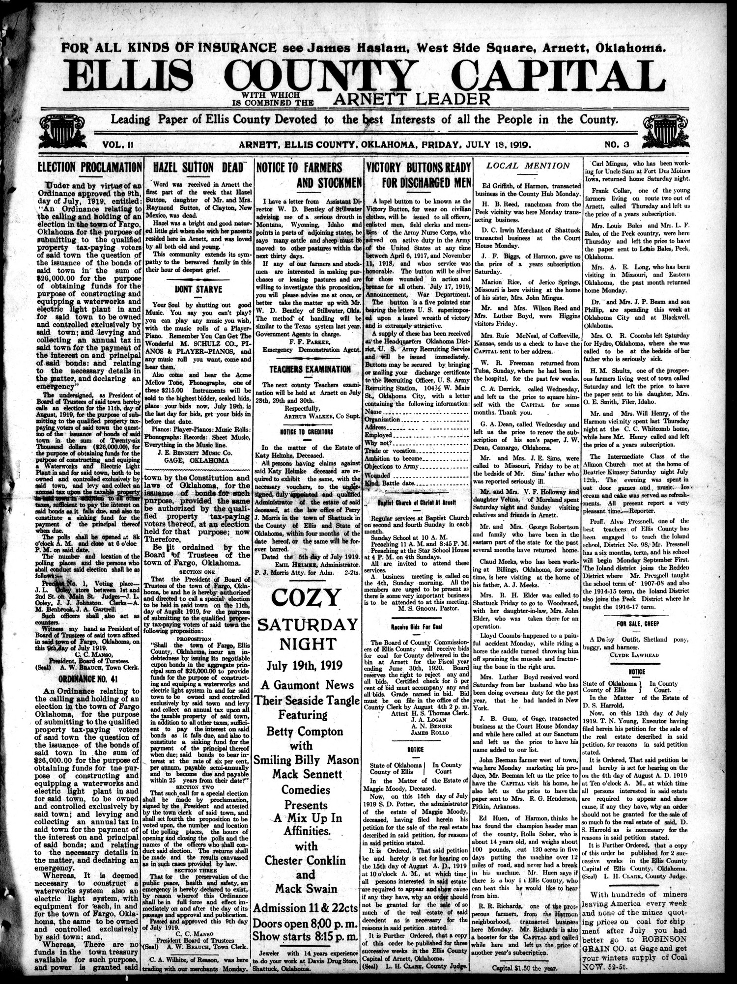 Ellis County Capital (Arnett, Okla.), Vol. 11, No. 3, Ed. 1 Friday, July 18, 1919                                                                                                      [Sequence #]: 1 of 8