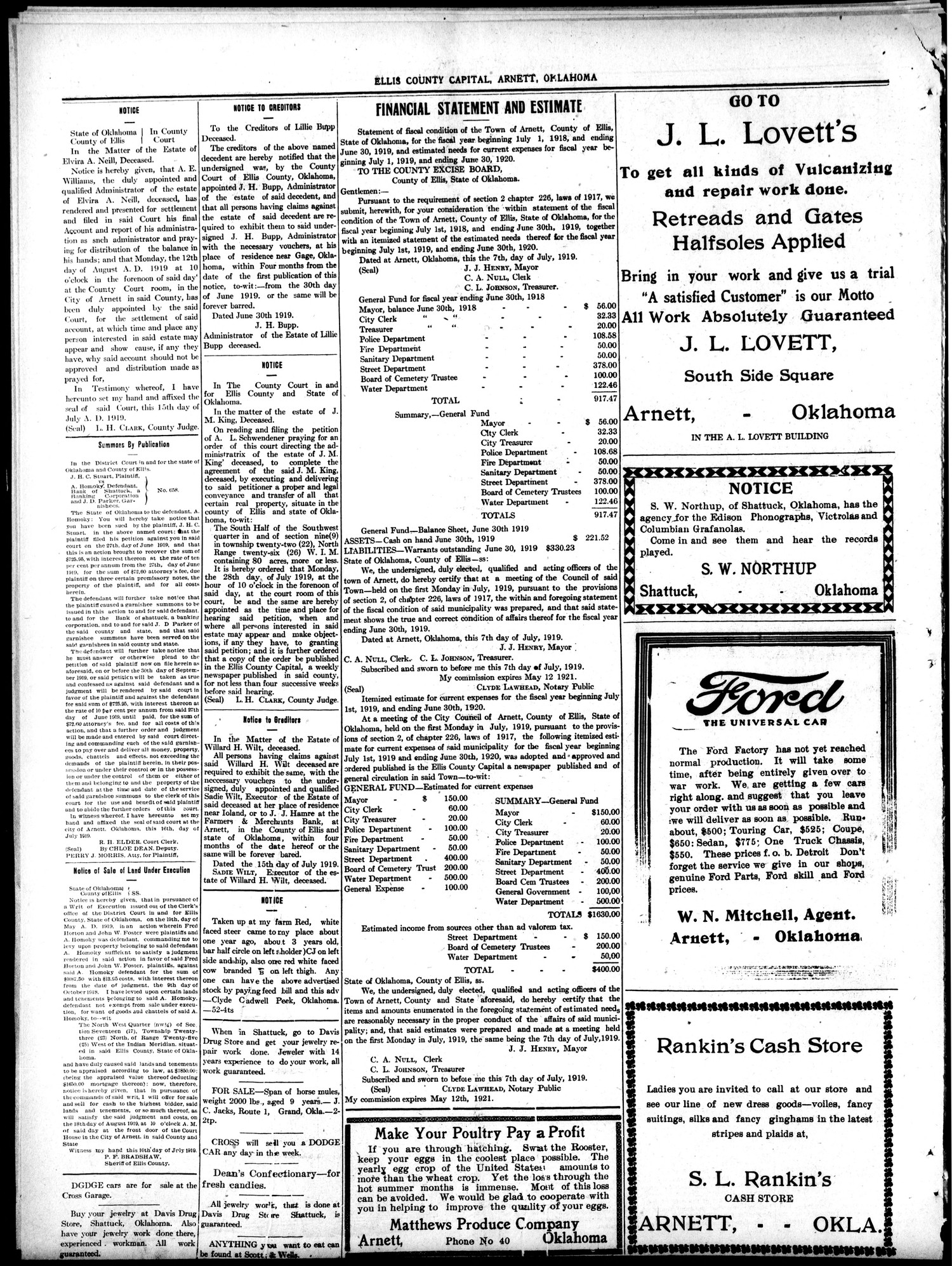 Ellis County Capital (Arnett, Okla.), Vol. 11, No. 3, Ed. 1 Friday, July 18, 1919                                                                                                      [Sequence #]: 8 of 8