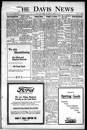 Primary view of object titled 'The Davis News (Davis, Okla.), Vol. 27, No. 25, Ed. 1 Thursday, March 17, 1921'.