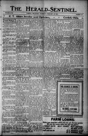 Primary view of object titled 'The Herald-Sentinel. (Cordell, Okla.), Vol. 18, No. 27, Ed. 1 Thursday, February 23, 1911'.