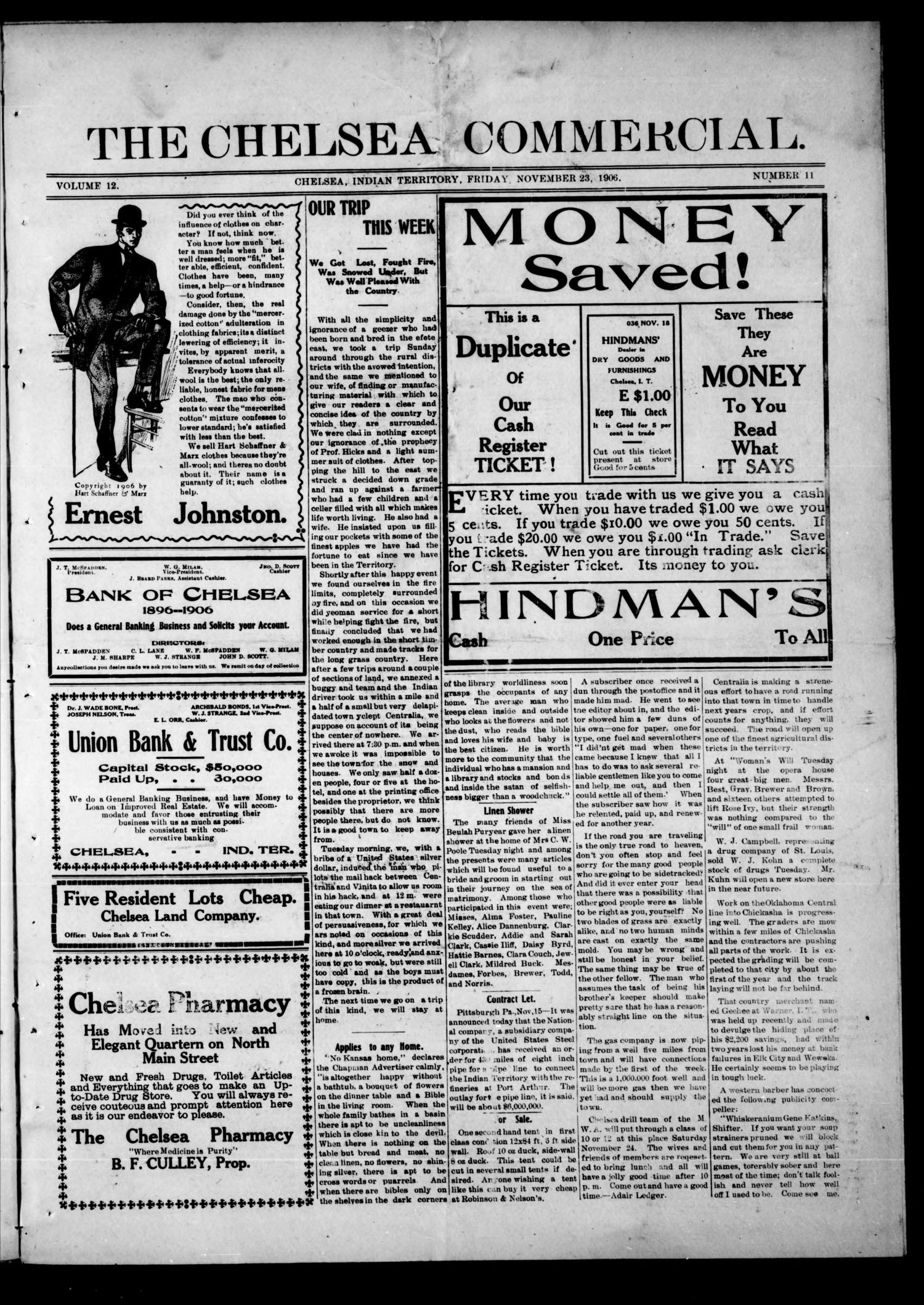 The Chelsea Commercial. (Chelsea, Indian Terr.), Vol. 12, No. 11, Ed. 1 Friday, November 23, 1906                                                                                                      [Sequence #]: 1 of 8