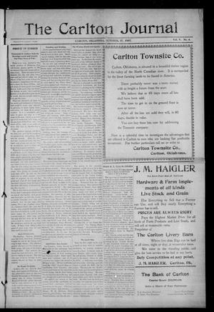 Primary view of object titled 'The Carlton Journal (Carlton, Okla.), Vol. 5, No. 4, Ed. 1 Thursday, October 17, 1907'.