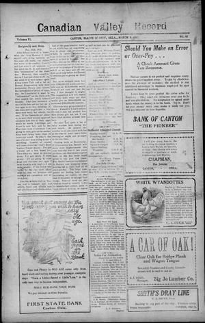 Primary view of object titled 'Canadian Valley Record (Canton, Okla.), Vol. 6, No. 41, Ed. 1 Thursday, March 9, 1911'.