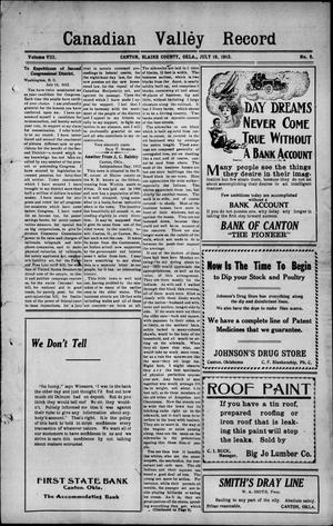 Primary view of Canadian Valley Record (Canton, Okla.), Vol. 8, No. 8, Ed. 1 Thursday, July 18, 1912