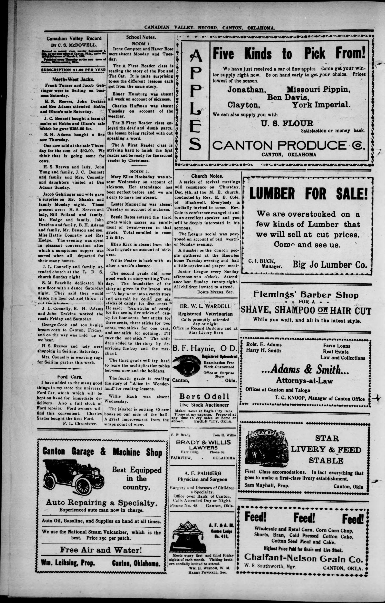 Canadian Valley Record (Canton, Okla.), Vol. 9, No. 27, Ed. 1 Thursday, November 27, 1913                                                                                                      [Sequence #]: 4 of 8