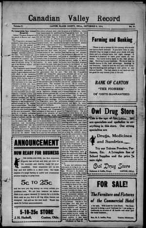Primary view of Canadian Valley Record (Canton, Okla.), Vol. 10, No. 21, Ed. 1 Thursday, September 3, 1914