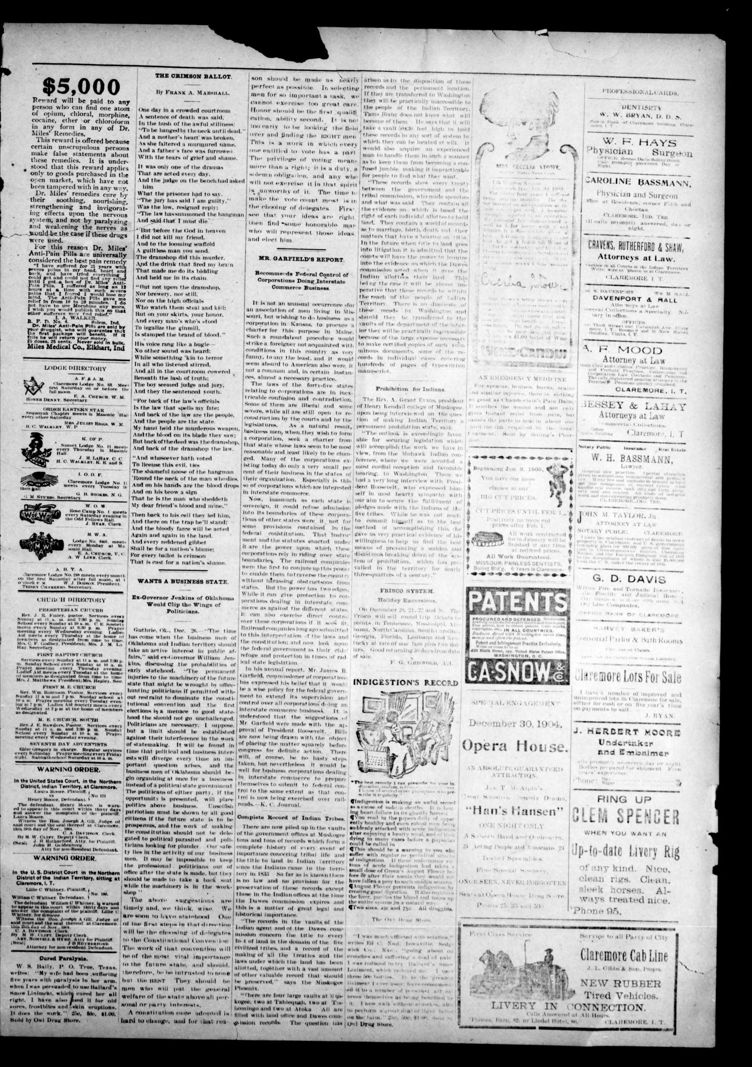 The Claremore Messenger. (Claremore, Indian Terr.), Vol. 10, No. 50, Ed. 1 Thursday, December 29, 1904                                                                                                      [Sequence #]: 3 of 4