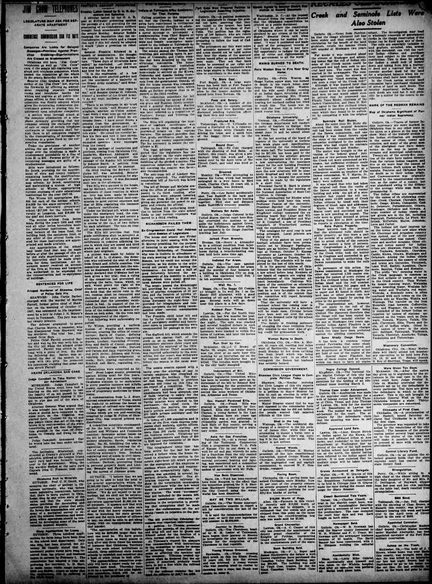 The Claremore Messenger. (Claremore, Okla.), Vol. 13, No. 5, Ed. 1 Friday, January 31, 1908                                                                                                      [Sequence #]: 3 of 8