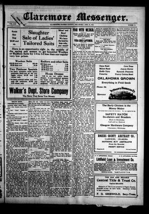 Primary view of Claremore Messenger. (Claremore, Okla.), Vol. 19, No. 19, Ed. 1 Friday, April 24, 1914