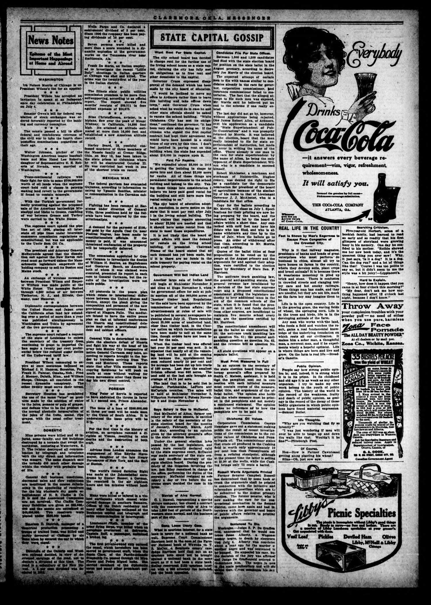 Claremore Messenger. (Claremore, Okla.), Vol. 19, No. 29, Ed. 1 Friday, July 3, 1914                                                                                                      [Sequence #]: 3 of 8