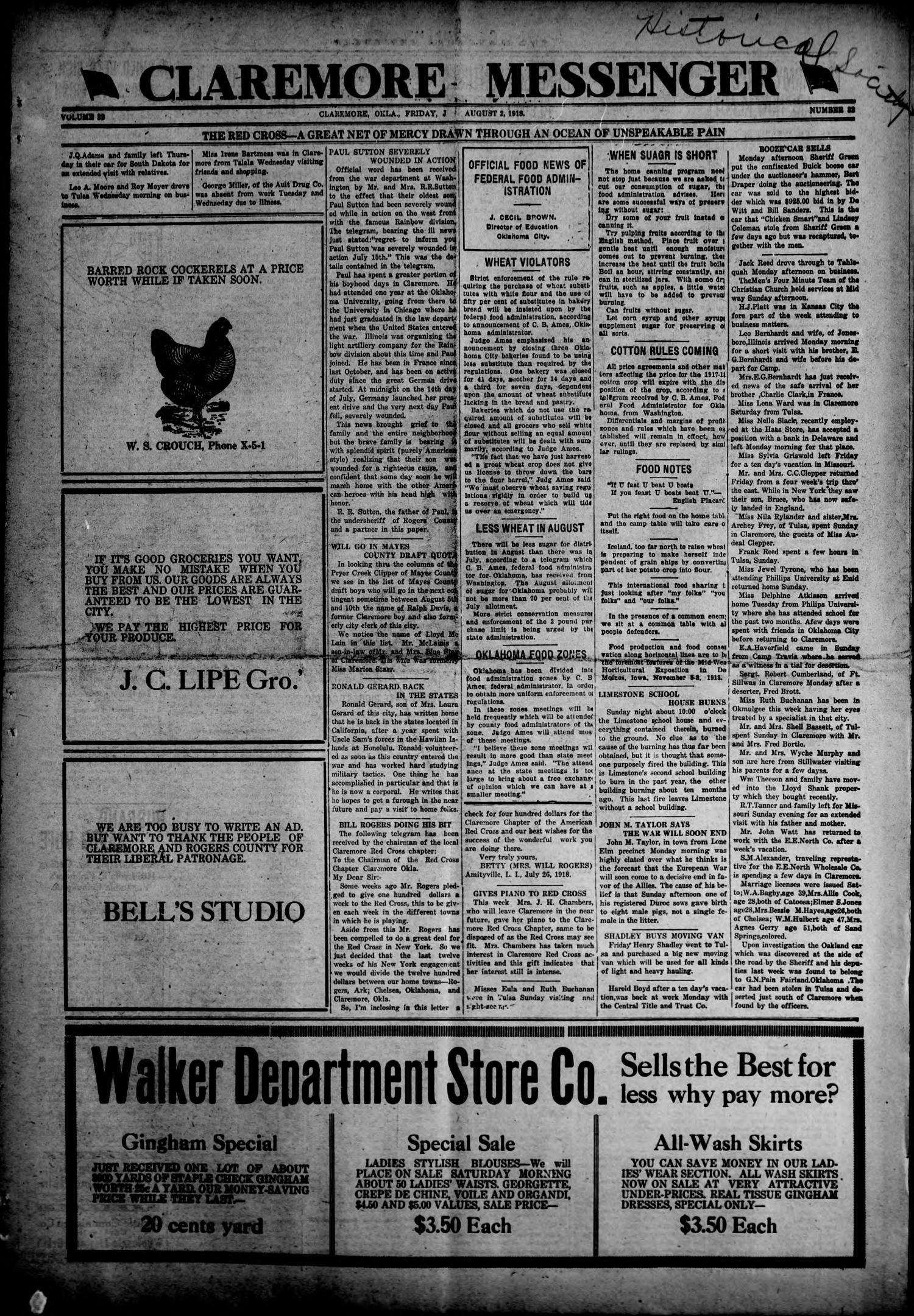 Claremore Messenger (Claremore, Okla.), Vol. 23, No. 32, Ed. 1 Friday, August 2, 1918                                                                                                      [Sequence #]: 1 of 8