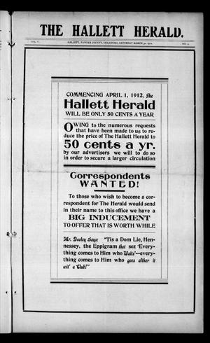 Primary view of object titled 'The Hallett Herald. (Hallett, Okla.), Vol. 5, No. 4, Ed. 1 Saturday, March 30, 1912'.
