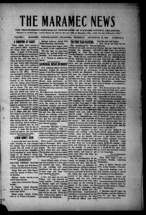 Primary view of object titled 'The Maramec News (Maramec, Okla.), Vol. 1, No. 29, Ed. 1 Thursday, September 19, 1912'.
