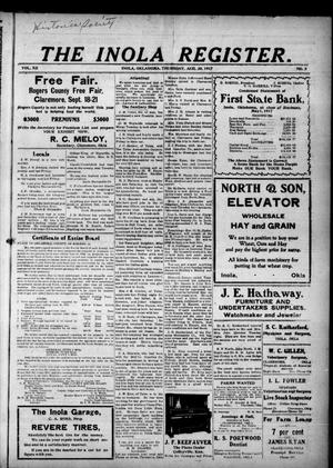 Primary view of The Inola Register. (Inola, Okla.), Vol. 12, No. 8, Ed. 1 Thursday, August 30, 1917