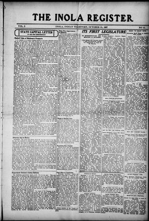 Primary view of The Inola Register. (Inola, Indian Territory), Vol. 2, No. 11, Ed. 1 Friday, October 11, 1907