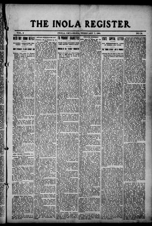 Primary view of object titled 'The Inola Register. (Inola, Okla.), Vol. 2, No. 28, Ed. 1 Friday, February 7, 1908'.