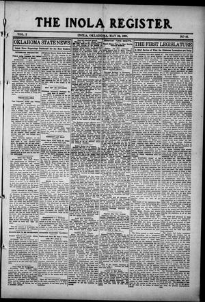 Primary view of object titled 'The Inola Register. (Inola, Okla.), Vol. 2, No. 44, Ed. 1 Friday, May 22, 1908'.