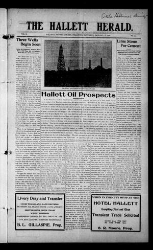 Primary view of object titled 'The Hallett Herald. (Hallett, Okla.), Vol. 2, No. 51, Ed. 1 Saturday, January 15, 1910'.