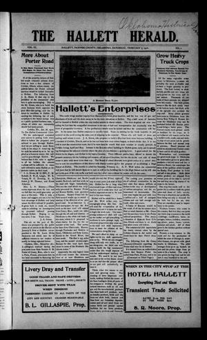 Primary view of object titled 'The Hallett Herald. (Hallett, Okla.), Vol. 3, No. 2, Ed. 1 Saturday, February 5, 1910'.