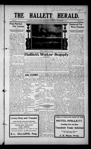 Primary view of object titled 'The Hallett Herald. (Hallett, Okla.), Vol. 3, No. 33, Ed. 1 Saturday, September 17, 1910'.