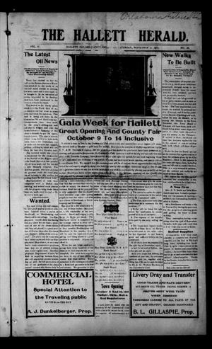 Primary view of object titled 'The Hallett Herald. (Hallett, Okla.), Vol. 4, No. 26, Ed. 1 Saturday, September 2, 1911'.