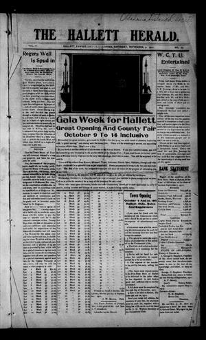 Primary view of object titled 'The Hallett Herald. (Hallett, Okla.), Vol. 4, No. 27, Ed. 1 Saturday, September 9, 1911'.