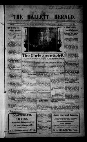 Primary view of object titled 'The Hallett Herald. (Hallett, Okla.), Vol. 4, No. 43, Ed. 1 Saturday, December 23, 1911'.