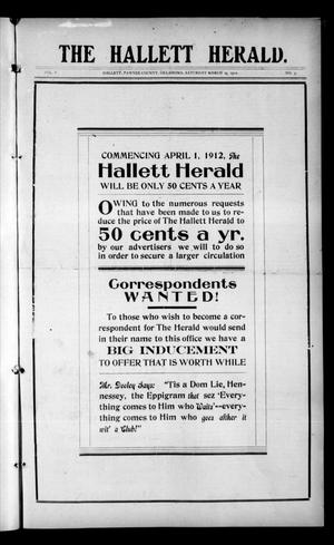 Primary view of object titled 'The Hallett Herald. (Hallett, Okla.), Vol. 5, No. 3, Ed. 1 Saturday, March 23, 1912'.