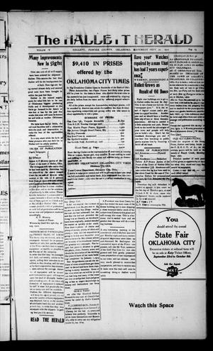 Primary view of object titled 'The Hallett Herald (Hallett, Okla.), Vol. 5, No. 25, Ed. 1 Saturday, September 21, 1912'.