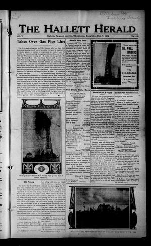Primary view of object titled 'The Hallett Herald (Hallett, Okla.), Vol. 5, No. 46, Ed. 1 Saturday, December 7, 1912'.