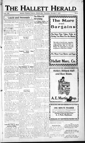 Primary view of object titled 'The Hallett Herald (Hallett, Okla.), Vol. 8, No. 21, Ed. 1 Thursday, October 7, 1915'.
