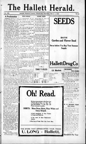 Primary view of object titled 'The Hallett Herald. (Hallett, Okla.), Vol. 8, No. 42, Ed. 1 Thursday, March 2, 1916'.