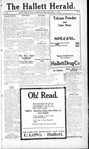 Primary view of object titled 'The Hallett Herald. (Hallett, Okla.), Vol. 8, No. 45, Ed. 1 Thursday, March 23, 1916'.