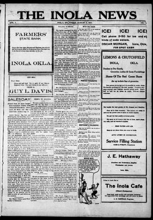 Primary view of object titled 'The Inola News (Inola, Okla.), Vol. 1, No. 17, Ed. 1 Friday, August 5, 1921'.