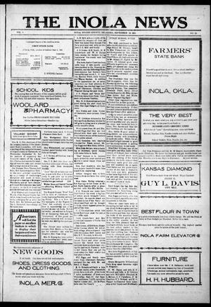 Primary view of object titled 'The Inola News (Inola, Okla.), Vol. 1, No. 23, Ed. 1 Friday, September 16, 1921'.