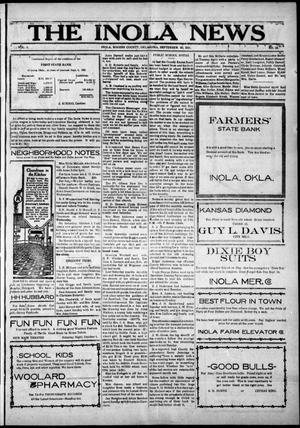 Primary view of object titled 'The Inola News (Inola, Okla.), Vol. 1, No. 25, Ed. 1 Friday, September 30, 1921'.