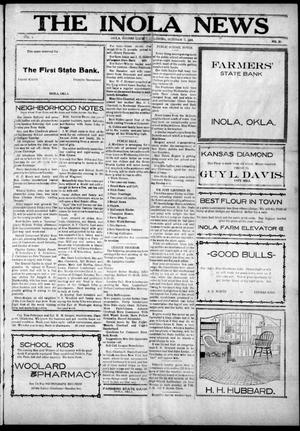 Primary view of object titled 'The Inola News (Inola, Okla.), Vol. 1, No. 26, Ed. 1 Friday, October 7, 1921'.