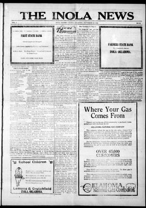 Primary view of object titled 'The Inola News (Inola, Okla.), Vol. 2, No. 25, Ed. 1 Friday, September 22, 1922'.