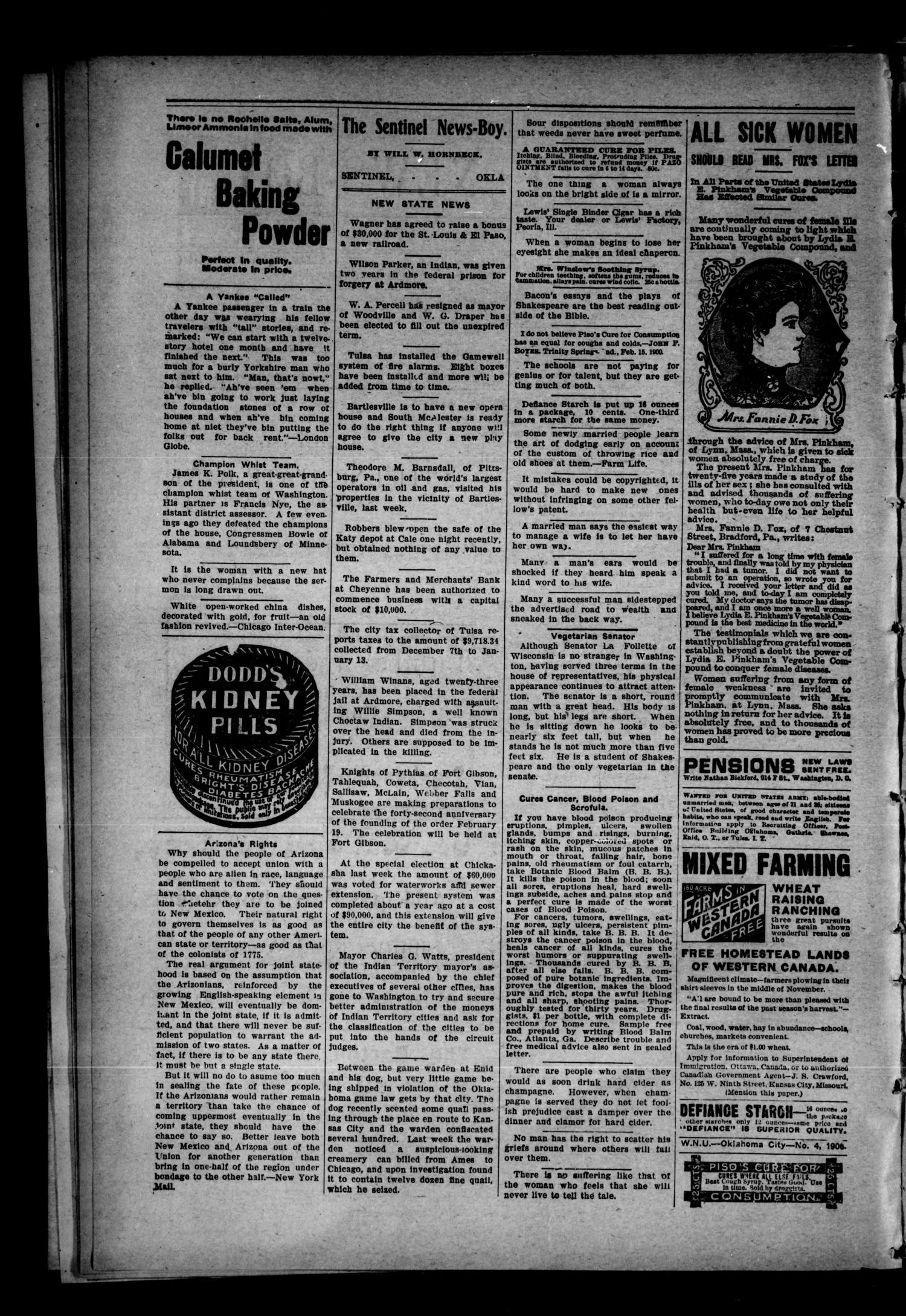 Sentinel News-Boy. (Sentinel, Okla.), Vol. 2, No. 25, Ed. 1 Saturday, January 27, 1906                                                                                                      [Sequence #]: 2 of 8