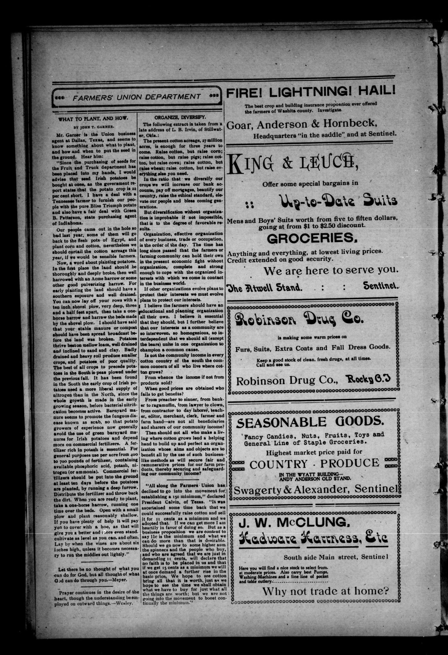 Sentinel News-Boy. (Sentinel, Okla.), Vol. 2, No. 25, Ed. 1 Saturday, January 27, 1906                                                                                                      [Sequence #]: 4 of 8